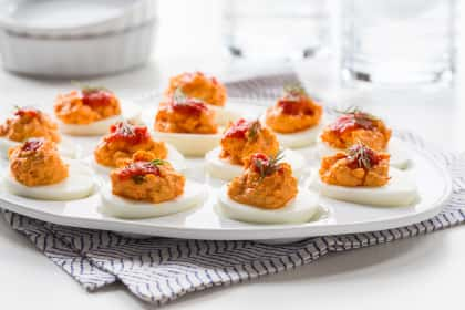 Harissa Goat Cheese Deviled Eggs